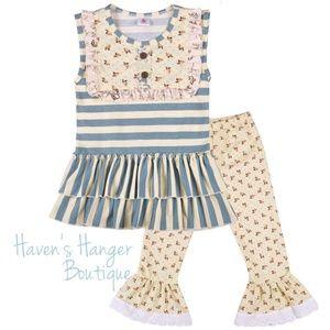 2pc. Stripes & Floral Pant Set #3